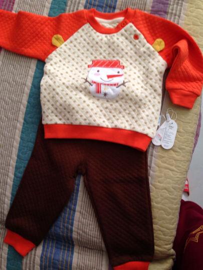 南极人(Nanjiren) 南极人宝宝春秋款夹棉套装婴儿衣服新款儿童卫衣套装 小雪人-橙色 80cm 晒单图