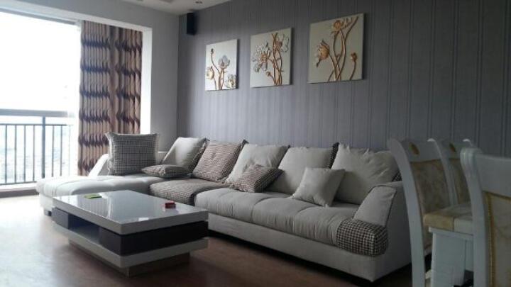 逸流家具北欧棉麻羽绒布艺沙发组合时尚简约现代布沙发组合意式米兰风格沙发 米白色+方格 整套  1组合 晒单图