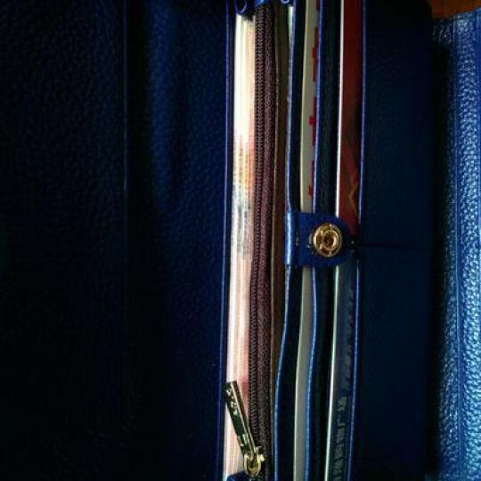 傲沃(aovo)真皮新款水波纹牛皮手拿包女漆皮信封型款三折钱包女长款钱包16系列 蝴蝶纹蓝色 晒单图