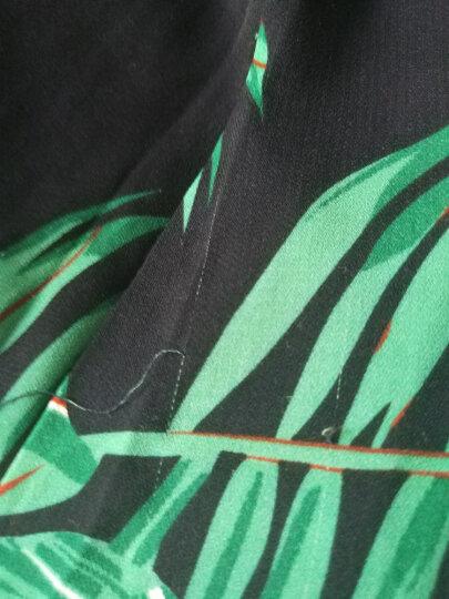曼珠黛雅雪纺连衣裙2018夏季新款中长款韩版修身碎花衣裙V领雪纺裙套装女 黄白花 XXXL 晒单图