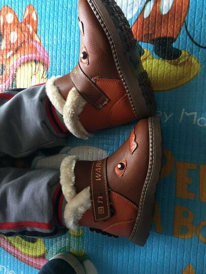 回力儿童棉鞋女童雪地靴子防滑加绒鞋时尚款保暖防水高帮马丁靴 童鞋/棕色HL1058 28 晒单图