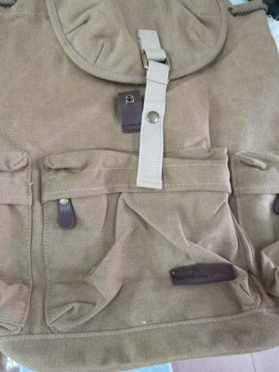 豆鼓眼(DouGuYan)帆布双肩背包男女韩版休闲14英寸书包G00115卡其色 晒单图
