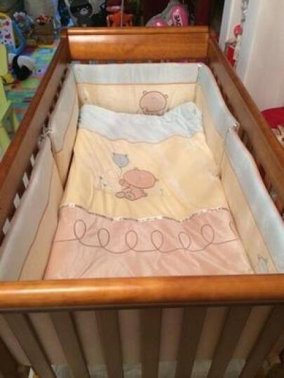 婴儿床维多利亚的秘密欧式多功能实木儿童床可变大人床虫眼做旧效果赠送加长床邦 胡桃色床+椰棕冬夏两用床垫+床品5件套+蚊帐 晒单图