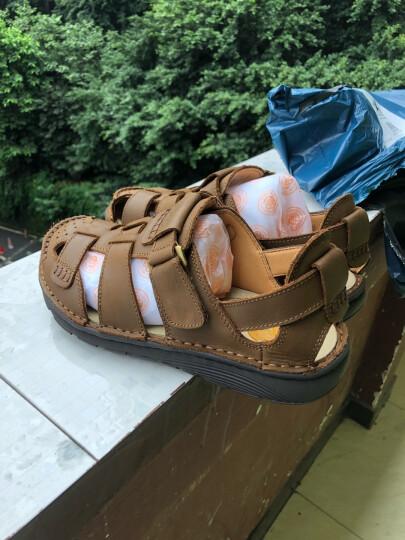 英国[BCS]邦楚仕2019新款凉鞋 男士夏季真皮包头户外沙滩鞋牛皮凉鞋男 13669-1卡其色 41 晒单图