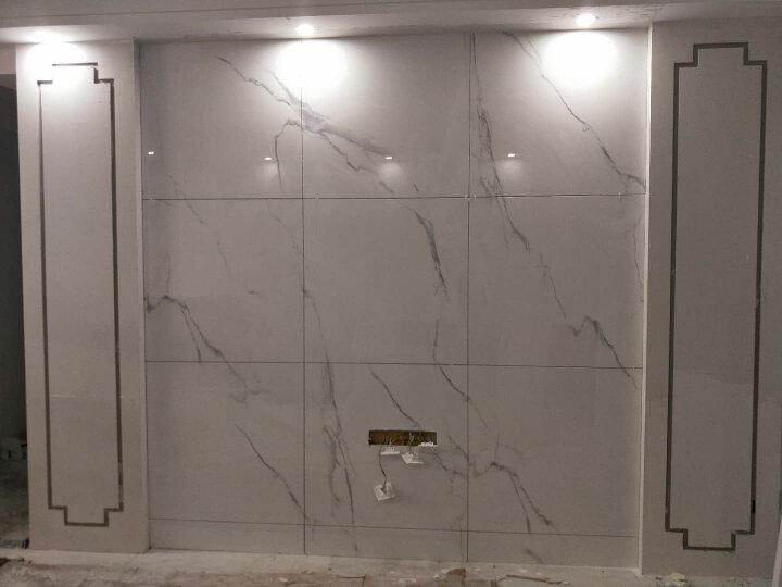 乾耀 微晶石电视背景墙瓷砖大理石欧式客厅现代简约影视墙边框装饰 行云流水 水晶釉面+浮雕/0.1平方米 晒单图