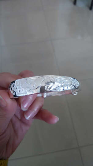 唯一银手镯女士款送妈妈白银999足银镯子首饰品传统福字民族风推拉银母亲老人生日礼物 龙凤祥福40±1g 晒单图