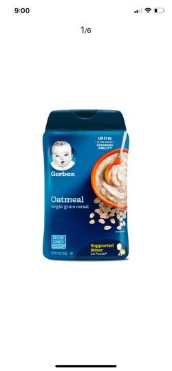 嘉宝(GERBER)美国营养米粉1/2/3段宝宝米粉 宝宝辅食  婴儿米糊 非转基因米粉 一/1段高铁锌全燕麦 4+ 227g 晒单图