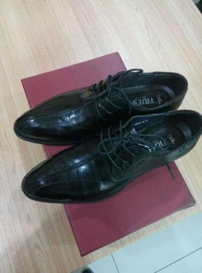 才子(TREIS)春季新款商务休闲男鞋真皮透气 英伦正装皮鞋系带尖头商务皮鞋男士西装皮鞋 H30C1686棕色 42 晒单图