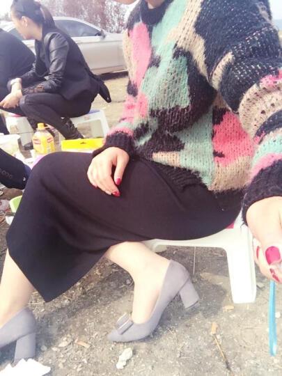 侍娅佐仃内单鞋女粗跟高跟鞋尖头中跟皮鞋工作鞋小码31-33大码40-43韩版春秋职业峰源女鞋 灰色-无货 大码定做40-可退换 晒单图