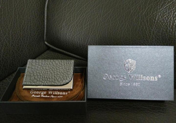 George Willsons 鳄鱼纹皮面不锈钢名片夹免费刻字 大容量名片盒商务男女卡包 肉色 豪华精装 晒单图
