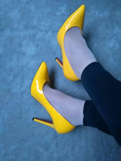 彩俪琪 高跟鞋漆皮尖头高跟单鞋 细跟性感夜店高跟鞋 蓝色 34 晒单图
