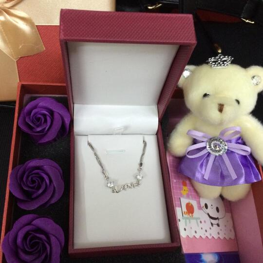 纤格银 情人节新年礼物送女友S925银手链女 生日礼品女生 结婚纪念日礼物送女朋友妈妈银手链创意 紫色(2209三件套) 晒单图
