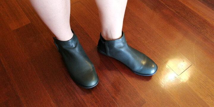 素人原创设计 个性拼接百搭真皮女短靴 16DWY057 绿色 37 晒单图