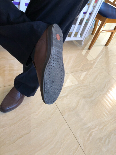senda/森达夏季专柜同款平面牛皮商务休闲男鞋JE114BS6 黑色 38 晒单图