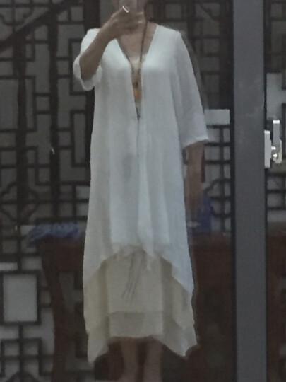 依莱迪棉麻连衣裙两件套2018春夏装新款中长款七分袖淑女韩版宽松套装裙【送吊坠】 白色 M 晒单图