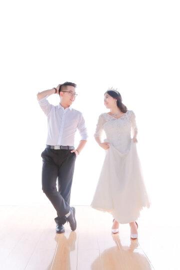 玺江 婚纱礼服2018新款韩版小拖尾中袖双肩V领大码蕾丝新娘结婚礼服裙齐地修身 女 白色齐地 XL 晒单图