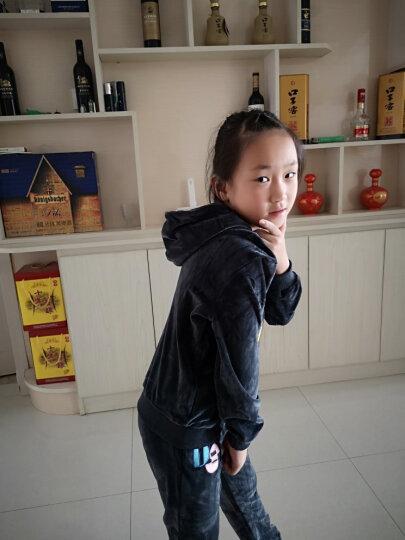 童装女童套装春秋季2019新款金丝绒卫衣两件套儿童运动装韩版中大童衣服 深灰色 140码(适合126-135cm) 晒单图