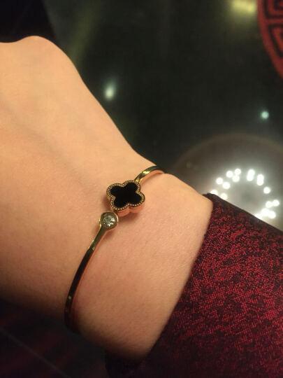 Niceter欧美范手镯 女 韩国18k玫瑰金钛钢时尚水晶手环配饰品 黑玛瑙 晒单图