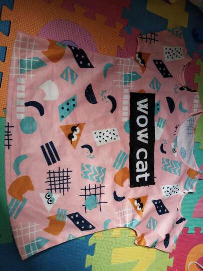 安奈儿Annil 童装女童T恤短袖夏款 中大童露肩印花上衣潮 粉黑花 160 晒单图