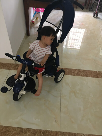 小虎子 大踏板 儿童三轮车 宝宝折叠脚踏车 婴儿车自行车 儿童车T300升级款 2019升级爆款 薄荷绿 晒单图