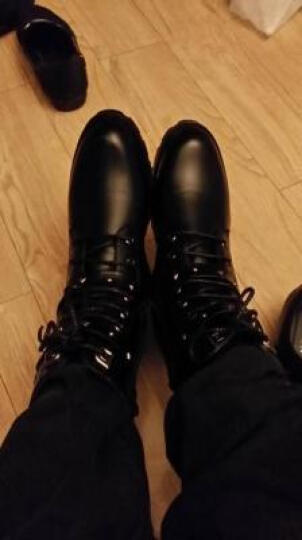 艾慕芳2017冬季新款马丁靴男单靴男式高帮鞋短筒工装靴军靴特种兵作战靴加棉靴鞋机车靴 黑色款(808) 44 晒单图