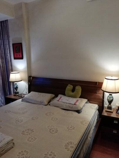 圣玛帝诺 美式台灯 卧室 床头 可调光可按钮简约现代欧式卧室客厅树脂布艺装饰led床头台灯 AV-1129中号蓝色按钮 晒单图