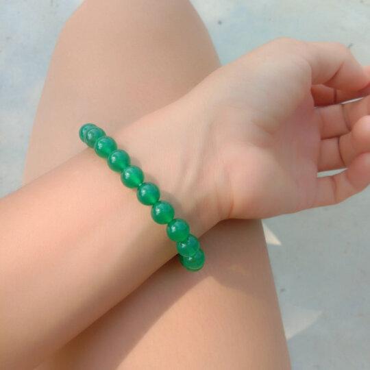 双儿珠宝 红/绿/黑玉髓圆珠手链可选 女士通用百搭经典手链 绿色 晒单图