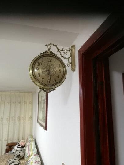 凯瑞蒂赫(kaiRuiDiHe) 欧式客厅两面挂表大号美式实木金属双面挂钟静音创意家用墙饰双面钟表 15003 晒单图
