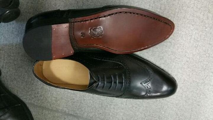 圣尼约德  固特异真皮皮底手工鞋男系带透气休闲男鞋男士商务正装布洛克皮鞋 红棕擦色 38 (手工定制12-15天) 晒单图