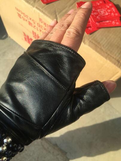 罗欧蒂斯(NOOLDERS)男士半掌机车手套韩版露指真皮手套半截皮手套秋冬薄M-39 黑色 L码 晒单图