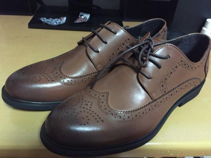 勿上热风休闲鞋男新款雕花男士时尚系带皮鞋H43M7713 02棕色 39正码 晒单图