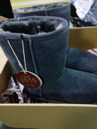 米基冬季新款牛皮中筒雪地靴女款 经典中筒靴子厚雪地棉 女鞋 酒红色 37 晒单图