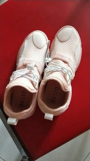 BASTO/百思图时尚舒适透气休闲运动风条纹内增高女单鞋1792CAM7 粉色 34 晒单图