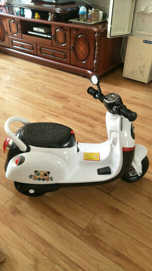 儿童电动车 儿童电动摩托车三轮车小孩可坐玩具车男女宝宝婴儿电瓶车充电 熊猫款白色 晒单图