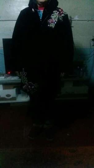 宸妙艳秋冬装中老年女装棉衣外套妈妈装金丝绒绣花棉服加棉加厚保暖大衣 黑色 3XL码 晒单图