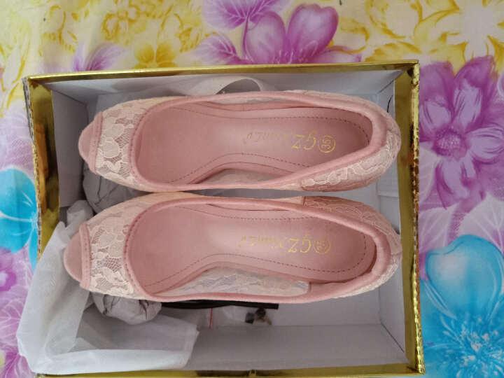 菲丽祺鱼嘴高跟鞋女夏新品细跟网纱性感凉鞋 粉红色 36 晒单图