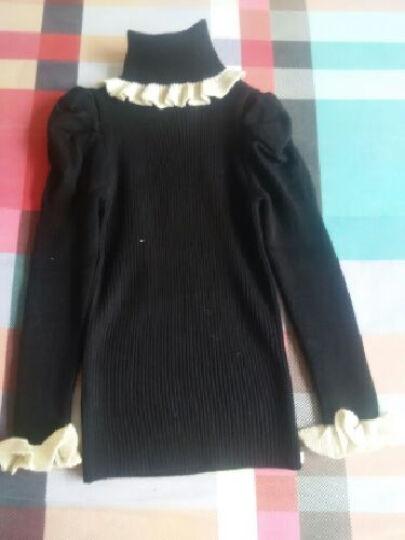 女童秋冬季新款韩版上衣儿童潮修身泡泡袖针织中大童毛毛衣 黑色低领 140建议身高135左右 晒单图