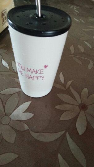 瓷魂 创意陶瓷文字马克杯奶茶咖啡杯不锈钢吸管水杯办公室喝水杯子 Happy红色 晒单图