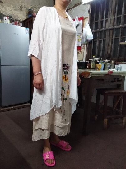 依莱迪棉麻连衣裙两件套2018春夏装新款中长款七分袖淑女韩版宽松套装裙【送吊坠】 桔红色 L 晒单图