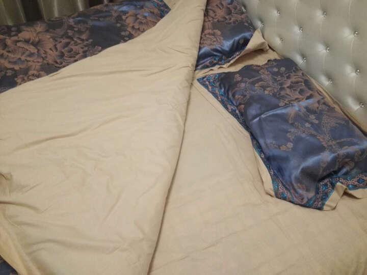 南极人家纺 欧式床品套件全棉贡缎提花四件套 大红纯棉婚庆四件套 1.5米/1.8米床 被套 缤纷花语-金色 2.0米 晒单图