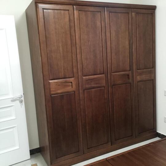 爱绿居 简约胡桃木实木衣柜 现代新中式四门衣柜 卧室实木家具 胡桃木色 四门 晒单图