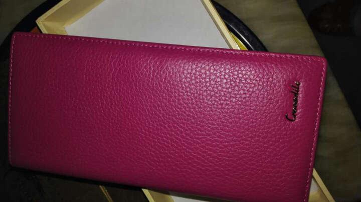 鳄鱼恤新款女钱包 女士经典简约长款牛皮糖果色女钱夹韩版卡包手拿包抖音同款 枚红色 晒单图