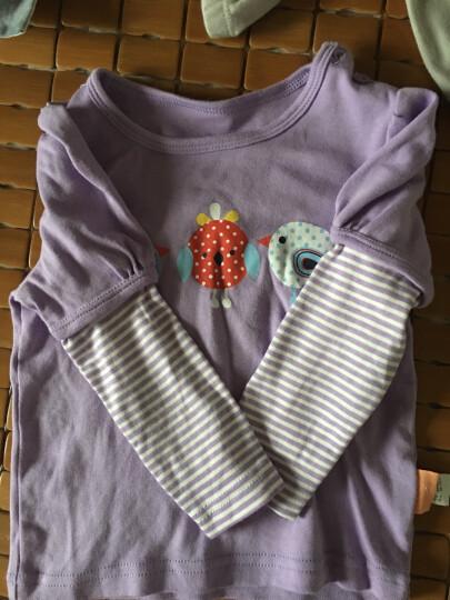 纤丝鸟(TINSINO)儿童T恤女宝宝圆领春秋休闲柔棉卡通打底衫上衣 游戏小鸟淡紫 90 晒单图
