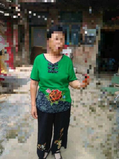 缘妈中老年女装夏装套装妈妈装中年40-50岁两件套牡丹绣花T恤+休闲裤YM3177 玫红色 3XL(130-145斤左右) 晒单图