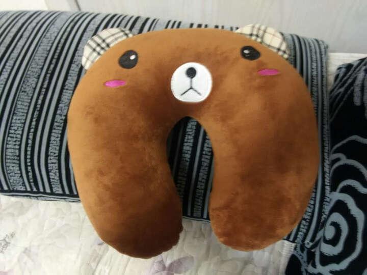 哈哈龙(hahalong) 哈哈龙 卡通熊猫U型颈枕腰枕沙发靠枕 靠垫 抱枕办公室腰靠 棕熊 U枕头加腰靠 晒单图