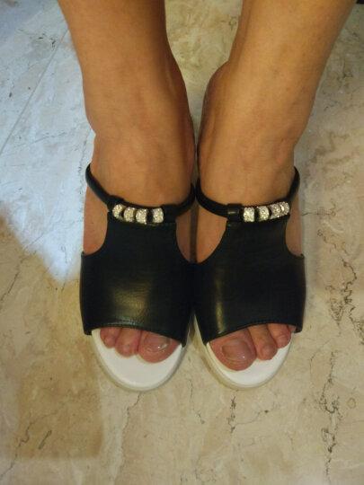 仙宝蝶拖鞋女夏一字凉拖鞋水晶钻粗跟高跟鞋女韩版拖鞋时尚外穿女鞋子 白色XBD525-7 37 晒单图