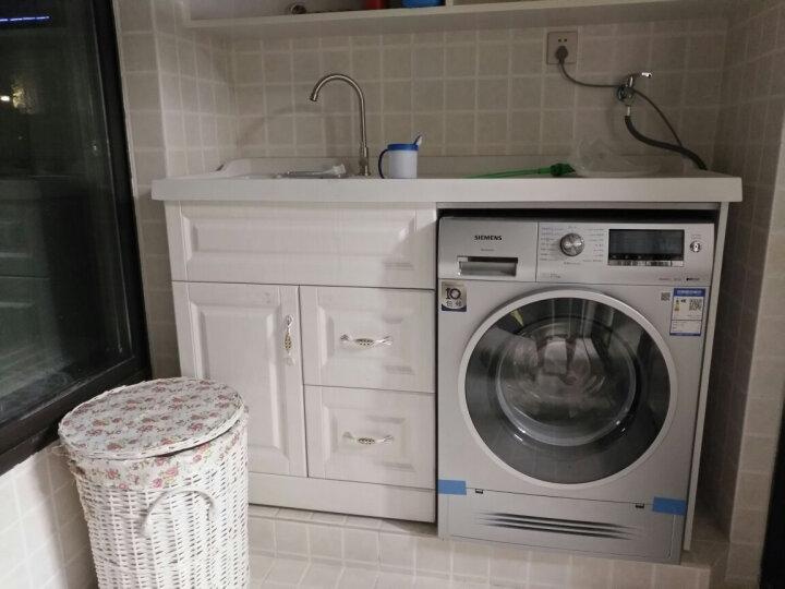 名爵(MEJUE) Z-7202100免漆实木浴室柜阳台洗衣柜落地柜台面带搓衣板组合柜 晒单图
