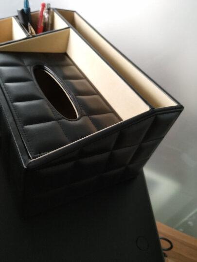 悦利(Richblue)皮革多功能纸巾盒 欧式创意遥控器收纳盒餐巾纸盒客厅抽纸盒 家居收纳用品 白色印花1621 晒单图