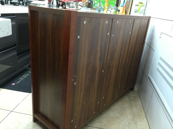 曼达(Manda) 实木框架餐边柜 胡桃木色中式现代收纳储物柜 碗碟柜 玄关柜置物 晒单图