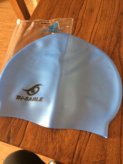 黑貂SABLE纯色长发护耳朵硅胶游泳帽子 防水弹性长发大码男女SCS 浅蓝色 晒单图